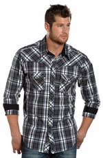 Rock & Roll Cowboy Men's Long Sleeve Plaid Snap Shirt - Charcoal