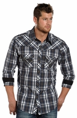 Rock & Roll Cowboy Men's Long Sleeve Plaid Snap Shirt - Charcoal (Closeout)