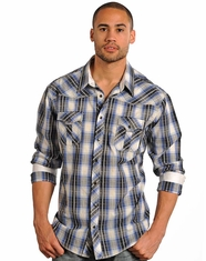 Rock & Roll Cowboy Men's Long Sleeve Plaid Snap Shirt - Grey