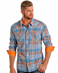 Rock & Roll Cowboy Men's Long Sleeve Plaid Snap Shirt - Orange