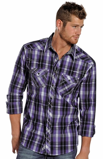 Rock & Roll Cowboy Men's Long Sleeve Plaid Snap Shirt - Purple (Closeout)