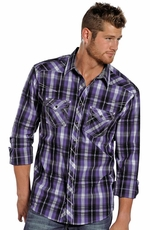 Rock & Roll Cowboy Men's Long Sleeve Plaid Snap Shirt - Purple