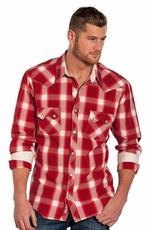 Rock & Roll Cowboy Men's Long Sleeve Plaid Snap Shirt - Red
