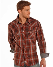 Rock & Roll Cowboy Men's Long Sleeve Plaid Snap Shirt - Rust