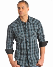 Rock & Roll Cowboy Men's Long Sleeve Plaid Snap Shirt-Turquoise (Closeout)
