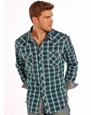 Rock & Roll Cowboy Men's Long Sleeve Plaid Snap Shirt - Turquoise