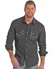 Rock & Roll Cowboy Men's Long Sleeve Print Snap Shirt - Black