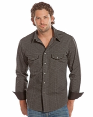 Rock & Roll Cowboy Men's Long Sleeve Print Snap Shirt - Charcoal (Closeout)