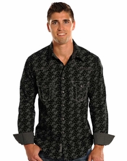Rock & Roll Cowboy Men's Long Sleeve Print Snap Shirt - Steel