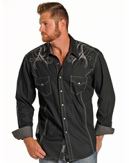 Rock & Roll Cowboy Men's Long Sleeve Sateen Embroidered Shirt - Black (Closeout)
