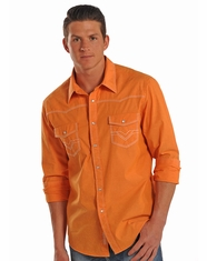 Rock & Roll Cowboy Men's Long Sleeve Solid Crinkle Wash Snap Shirt - Orange (Closeout)