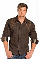 Rock & Roll Cowboy Men's Long Sleeve Solid Snap Embroidery Shirt - Brown