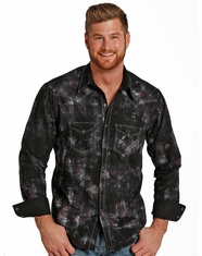 Rock & Roll Cowboy Men's Long Sleeve Splatter Plaid Snap Shirt - Black