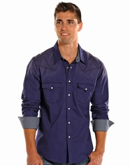 Rock & Roll Cowboy Men's Long Sleeve Spray Dye Snap Shirt - Indigo (Closeout)