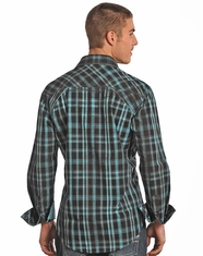Rock & Roll Cowboy Men's Long Sleeve Spray Wash Plaid Snap Shirt - Turquoise