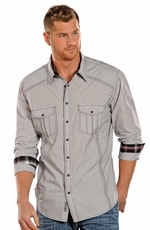 Rock & Roll Cowboy Men's Long Sleeve Stripe Snap Shirt - Grey