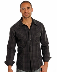 Rock & Roll Cowboy Men's Long Sleeve Tonal Plaid Shirt - Black