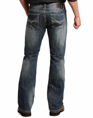 Rock & Roll Cowboy Men's Pistol Low Rise Regular Fit Boot Cut Jeans - Dark Vintage (Closeout)