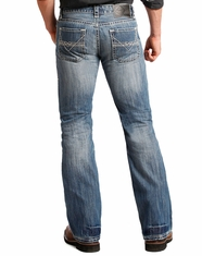 Rock & Roll Cowboy Men's Pistol Low Rise Regular Fit Boot Cut Jeans - Medium Wash