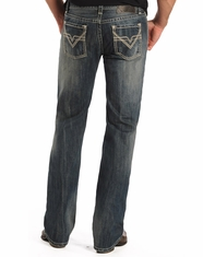 Rock & Roll Cowboy Men's Pistol Low Rise Regular Fit Straight Leg Jeans-Medium Wash