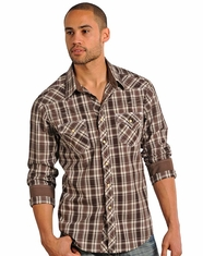 Rock & Roll Cowboy Men's Plaid Snap Shirt - Brown