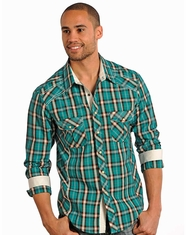 Rock & Roll Cowboy Men's Plaid Snap Shirt - Green