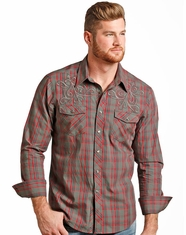 Rock & Roll Cowboy Men's Plaid Snap Shirt - Grey
