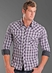 Rock & Roll Cowboy Men's Plaid Western Snap Shirt with Triple Top Stitching - Purple (Closeout)