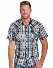 Rock & Roll Cowboy Men's Short Sleeve Plaid Snap Shirt - Blue (Closeout)