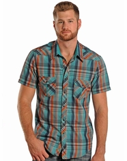 Rock & Roll Cowboy Men's Short Sleeve Plaid Snap Shirt - Orange