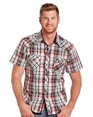 Rock & Roll Cowboy Men's Short Sleeve Plaid Snap Shirt - Red (Closeout)