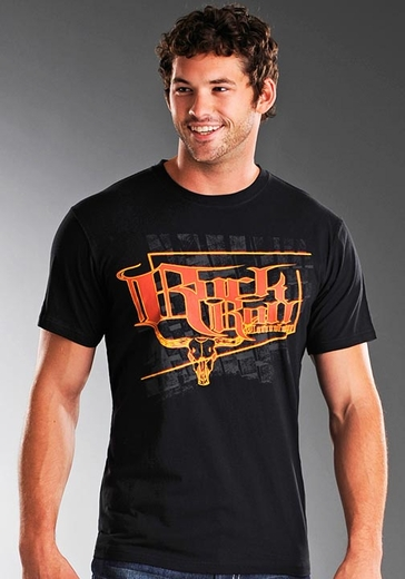 Rock & Roll Cowboy Men's Short Sleeve Steer Skull Tee Shirt - Black (Closeout)