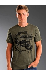 Rock & Roll Cowboy Men's Short Sleeve Tee Shirt with Motorcycle Logo Screenprint - Olive (Closeout)