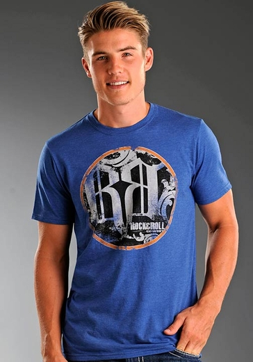 Rock & Roll Cowboy Men's Short Sleeve Tee Shirt with Screenprint - Blue (Closeout)