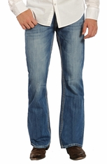 Rock & Roll Cowboy Mens Double Barrel Boot Cut Jeans with Heavy Bean Stitch - Medium Wash