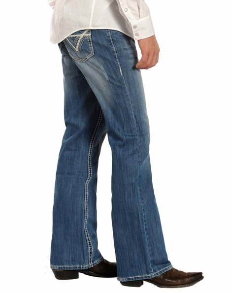 Rock & Roll Cowboy Mens Double Barrel Boot Cut Jeans with Heavy Bean Stitch - Medium Wash (Closeout)