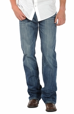Rock & Roll Cowboy Mens Double Barrel Relaxed Fit Boot Cut Jeans - Medium Wash