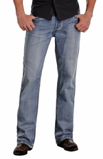 Rock & Roll Cowboy Mens Double Barrel Relaxed Fit Jeans - Light Wash (Closeout)