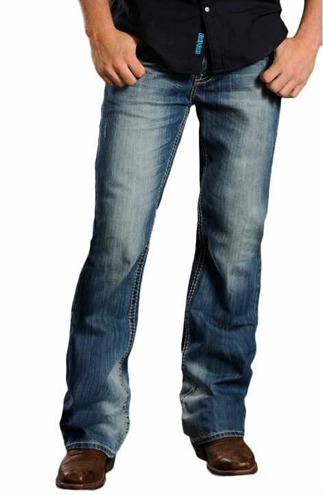 Rock & Roll Cowboy Mens Double Barrel Relaxed Fit Jeans with Multi Color Pockets - Medium Wash (Closeout)