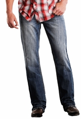 Rock & Roll Cowboy Mens Double Barrel Relaxed Straight Leg Jeans - Medium Wash (Closeout)