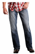 Rock & Roll Cowboy Mens Double Barrel Straight Leg Jeans - Medium Wash