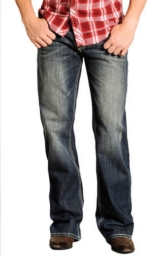 Rock & Roll Cowboy Mens Cannon Jeans with Stitch Pockets (Closeout)