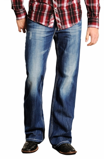 Rock & Roll Cowboy Mens Cannon Jeans with Diamond Pockets (Closeout)