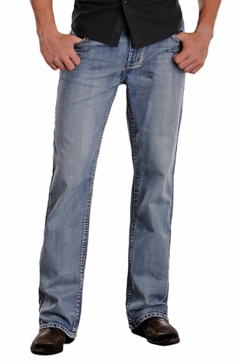 Rock & Roll Cowboy Mens Double Barrel Relaxed Fit Jeans - Light Wash