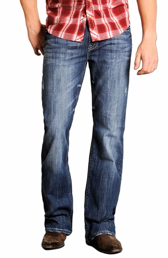 Rock & Roll Cowboy Mens Double Barrel Jeans with Abstract