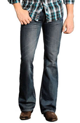 Rock & Roll Cowboy Mens Pistol Slim Fit Jeans - Dark Wash