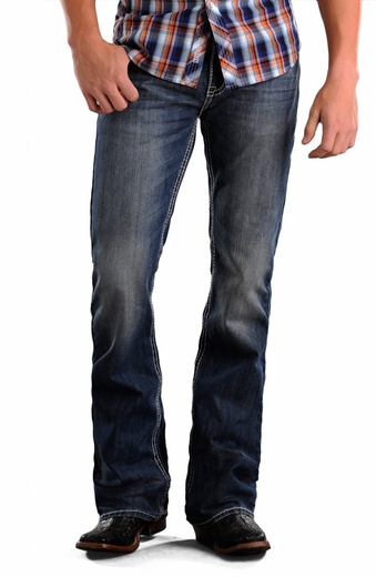 Rock & Roll Cowboy Mens Pistol Slim Fit Boot Cut Jeans - Medium Wash