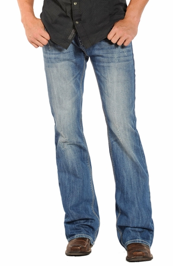 Rock & Roll Cowboy Mens Pistol Slim Fit Boot Cut Jeans