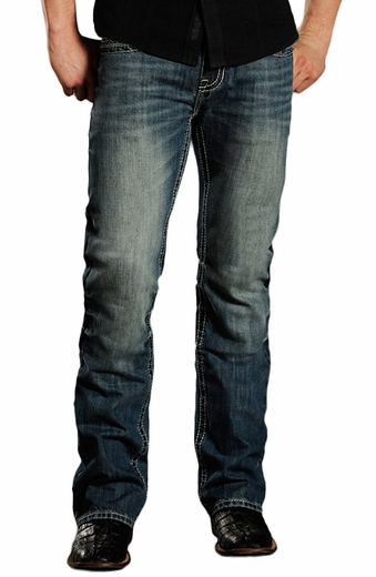 Rock & Roll Cowboy Mens Pistol Slim Fit Jeans (Closeout)