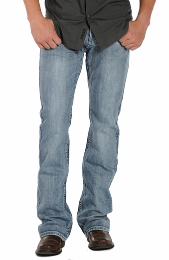 Rock & Roll Cowboy Men's Pistol Slim Boot Cut Jeans - Light Wash (Closeout)